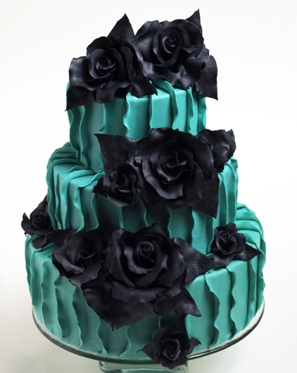 Turquoise Ombre Wedding Cake With Lights